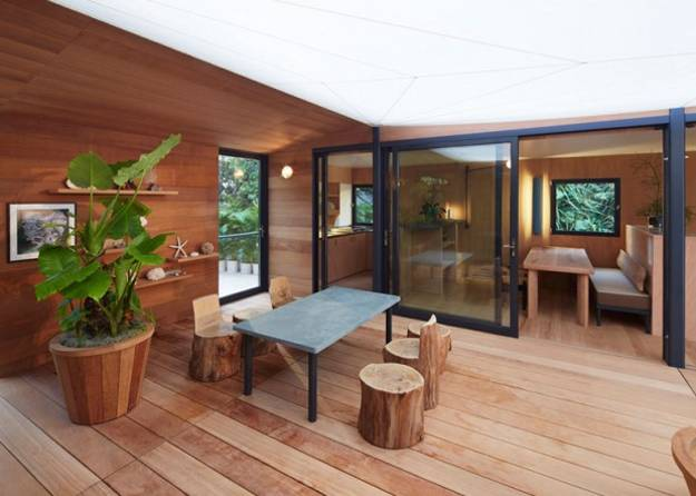 Wooden Interior Design And Decor Of Small Beach House In