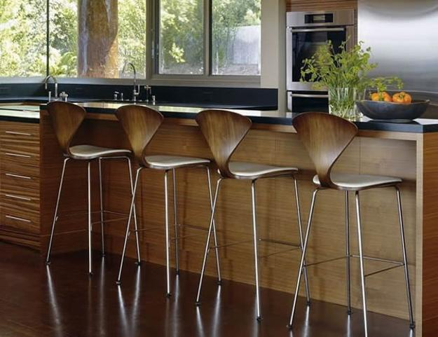 Attractive Wooden Bar Stools With Soft Curvy Lines