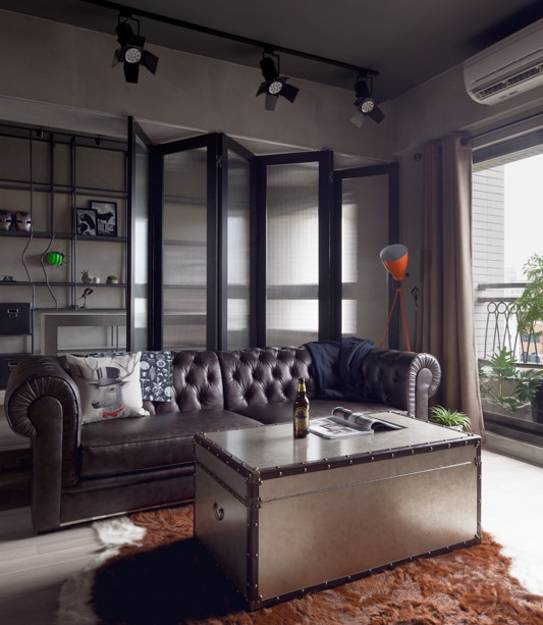 Loft Apartment Living Room Ideas: Masculine Interior Design With Industrial Accents Inspired