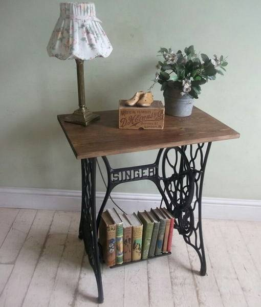 Painted White Wooden Boards For Console Table Recycling Old Sewing Machine