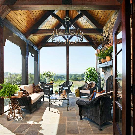 outdoor rooms with dining and seating furniture, summer decorating ideas