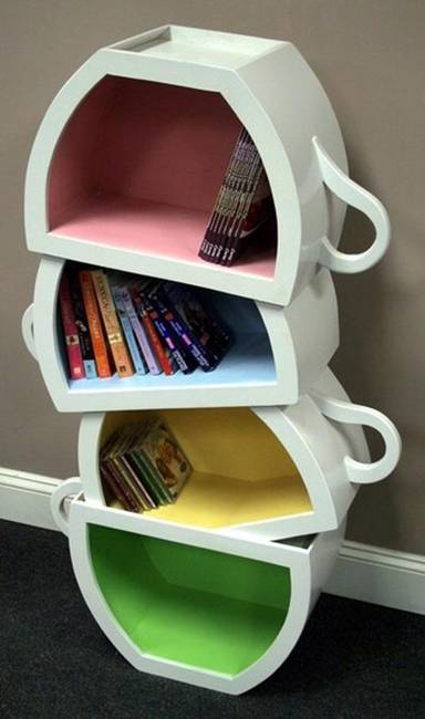 wonderful bedroom storage ideas creative purple kids design | Creative Decorative Bookcases and Shelves for Kids Rooms