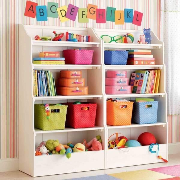 Awesome Wall Shelves With Stripes In Bright Pink Colors