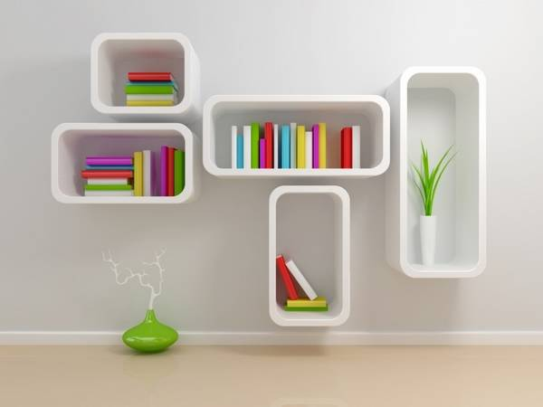 Wall Shelves With Stripes In Bright Pink Colors