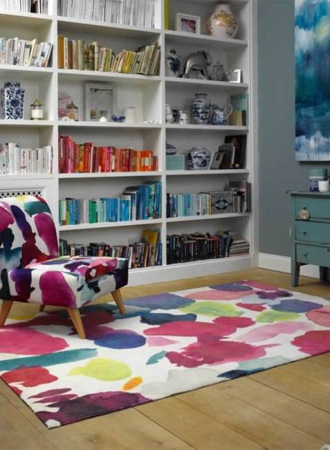 modern home furnishings, decorating fabrics and textiles with watercolor prints