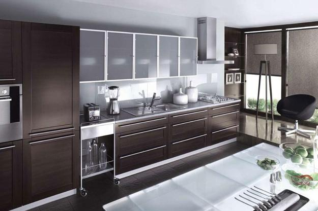 Modern Glass Kitchen Cabinet. Kitchen Island Design With Glass Top Shelve  And Cabinets Doors B