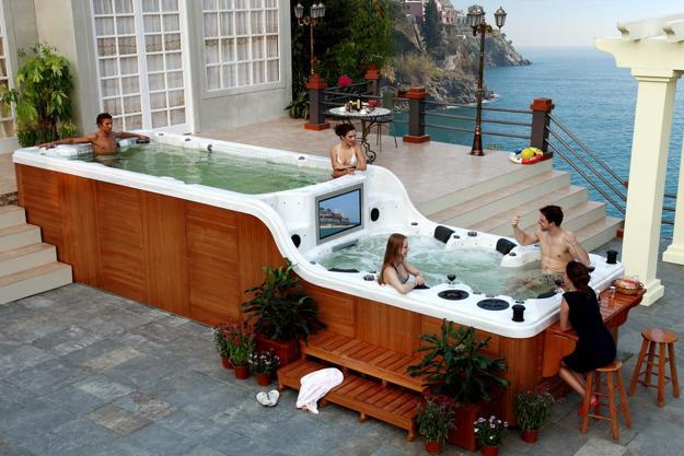outdoor hot tub with tv panel