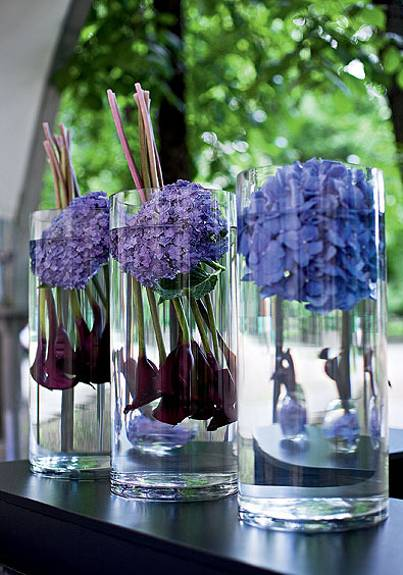 interior decorating and home staging with hydrangea flower arrangements, table decorations and centerpieces