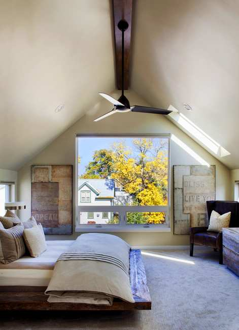 Attic Bedroom Design With Large Windows And Beautiful View Of Fall Leaves