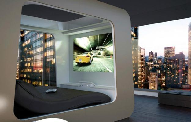 contemporary bed design in acube with tv panel