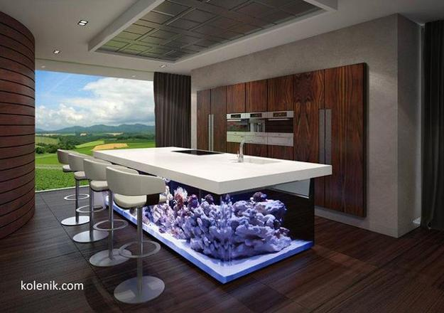 House Design Keuken : Nautical theme for modern kitchen design with aquarium kitchen island