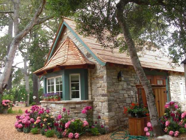 Charming Small House Design With Vintage Stone Walls And Blooming Garden