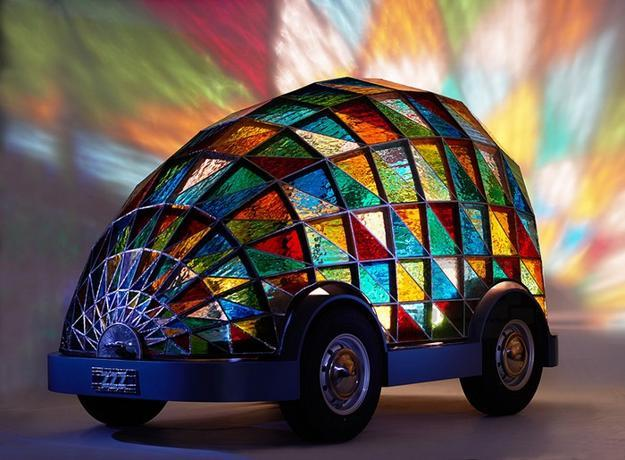 Colorful Stained Glass Car Design With Bright Interior And Autopilot