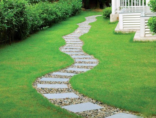 25 Yard Landscaping Ideas, Curvy Garden Path Designs to ... on Backyard Pathway Ideas id=51056