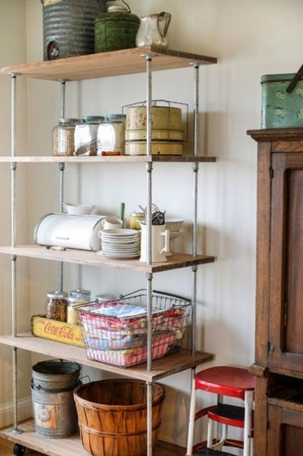 Pipes Shelving System For Kitchen Storage