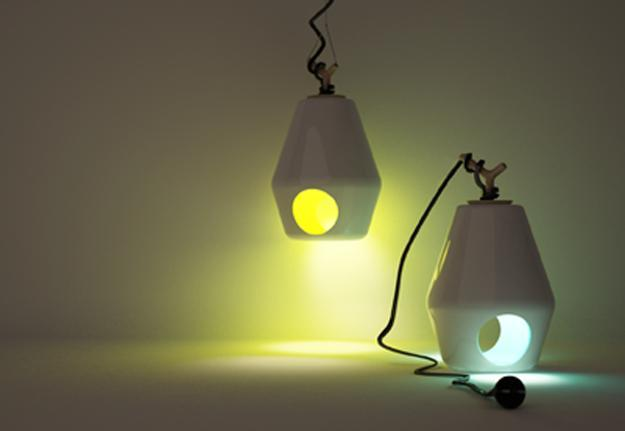 hanging lamps and table lamps, ceramic lanterns with wooden handles