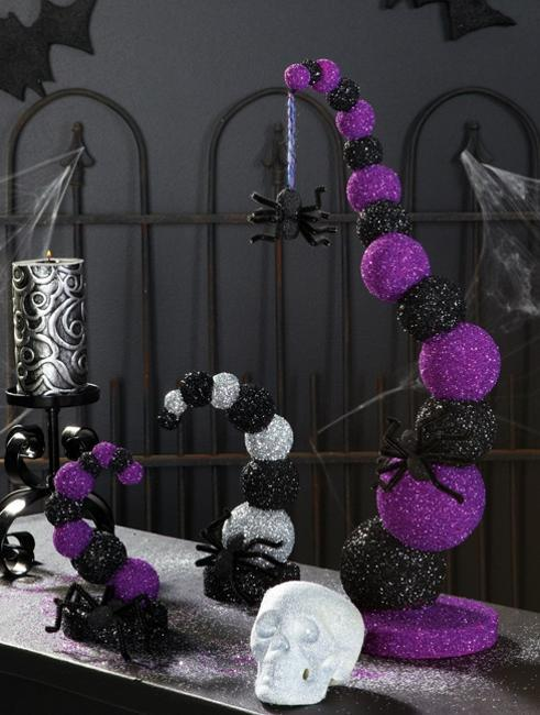 halloween decorations in purple colors