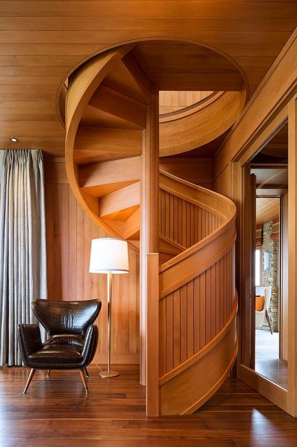 modern interiors with spiral staircase design