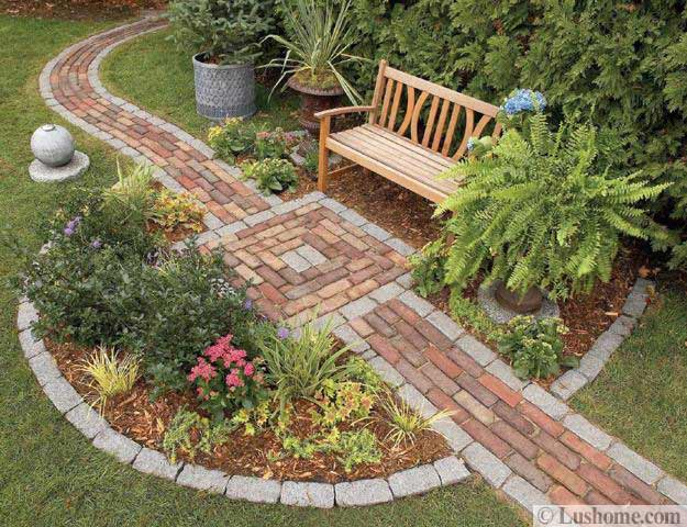 30 stone walkways and garden path design ideas for Brick flower garden designs