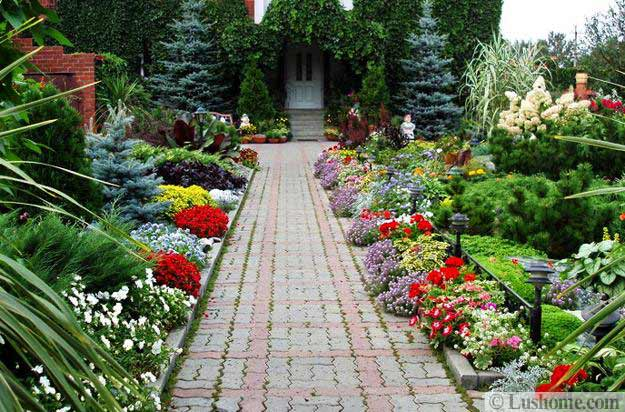 Flowering Plants And Stone Path Design, Yard Landscaping Ideas