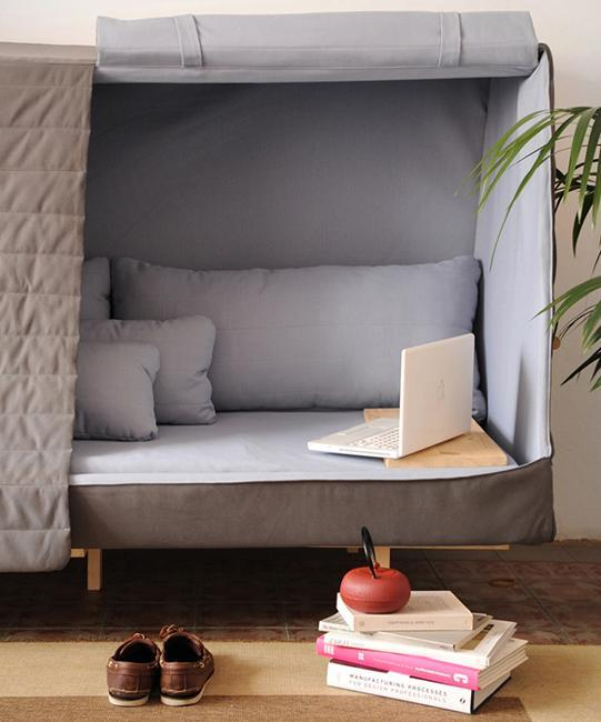 modern sofa with curtains
