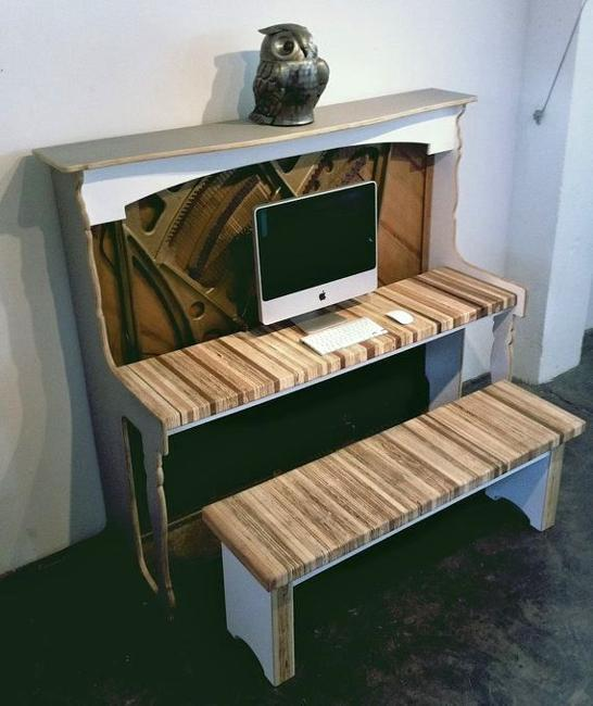 Recycling Piano For Computer Desk Creative Vintage Furniture Design