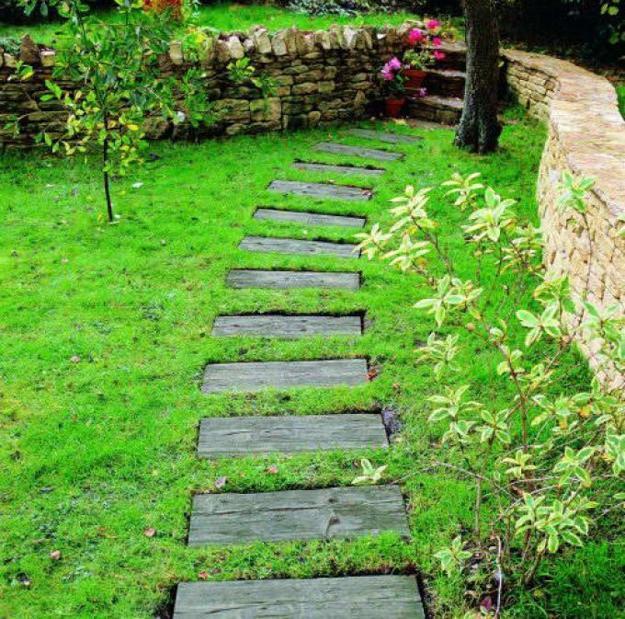 30 Green Design Ideas for Beautiful Wooden Garden Paths on Wooded Backyard Ideas id=67730