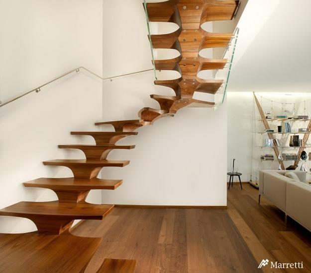 solid wood staircase design with glass balustrade