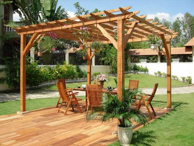 Garden Pergola Built Of Wood Beautiful Patio Ideas