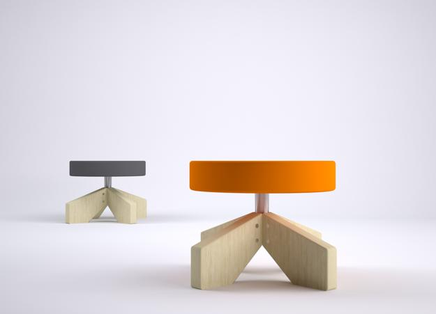 modern chairs, stool with big plywood feet