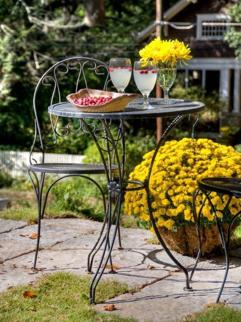 autumn garden decorations and fall backyard landscaping with beautiful flowers