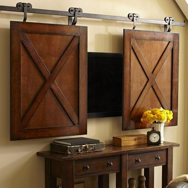 22 Modern Ideas To Hide TVs Behind Hinged Or Sliding Doors