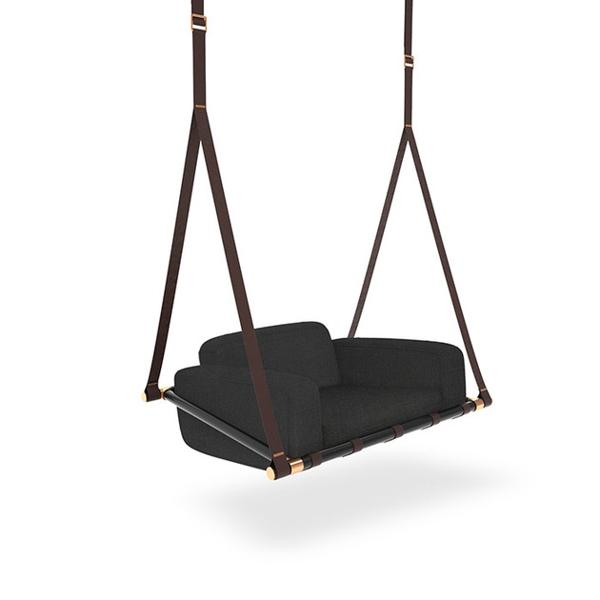 Leather Swing Seats Adding Chic Of Modern Hanging Chairs