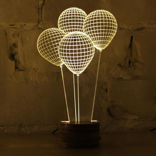 balloon lighting fixtures, coffee table and home decorations