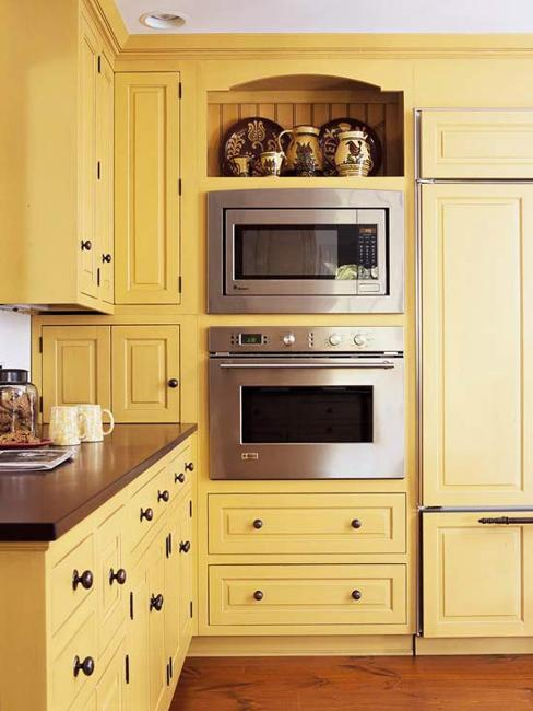 modern kitchen furniture and decorating materials in yellow color