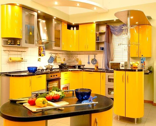 Bright Yellow Kitchen Cabinets And White Lighting Design In Contemporary Style