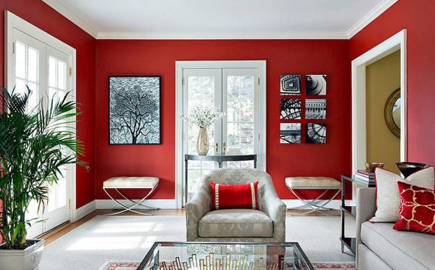 wonderful red white black living room ideas | Modern Living Room Designs in Rich and Energetic Red Colors