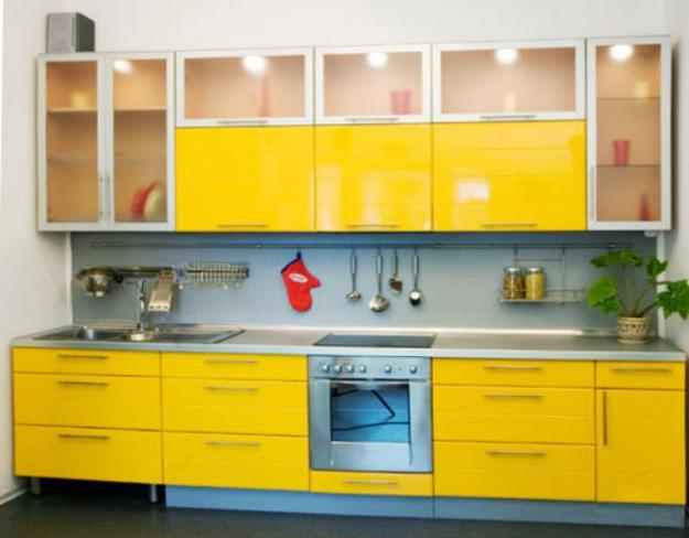 Contemporary kitchen design with yellow cabinets transparent doors and accent lighting & Small Kitchen Remodeling Ideas Accentuated with Sunny Yellow Color