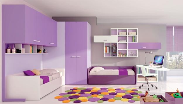 Colorful Floor Rug And Modern Kids Room Furniture In White Purple Colors