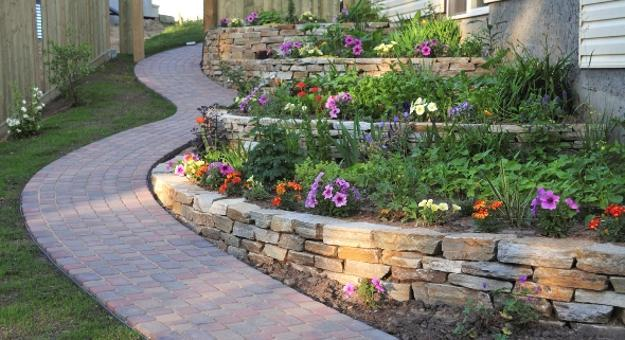 Flower Beds On Terraces Curvy Stone Pathway Hill Landscaping Ideas