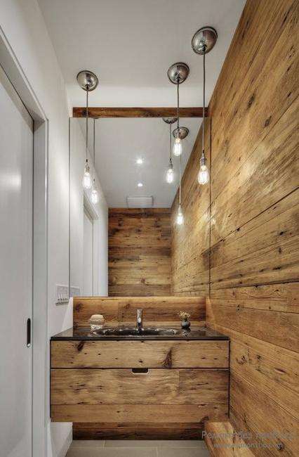 Merveilleux Salvaged Wood In Small Bathroom Design And Decor. Wooden Wall And Bathroom  Vanity