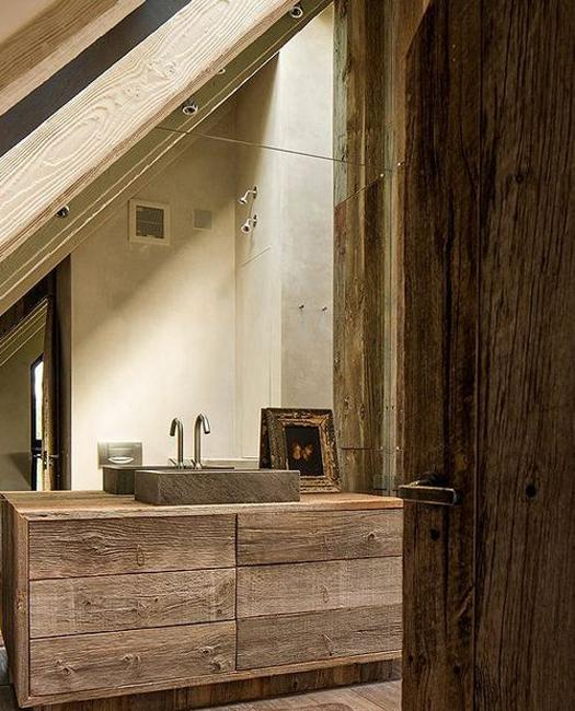 Rustic Wood In Small Bathroom Design With Inclined Ceiling