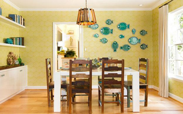 Dining Furniture In Turquoise Blue And Yellow Colors