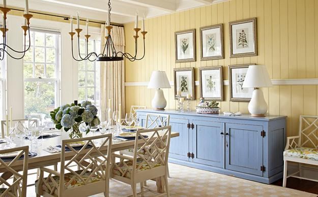 Dining Room Decorating With Yellow Wallpaper And Blue Paint