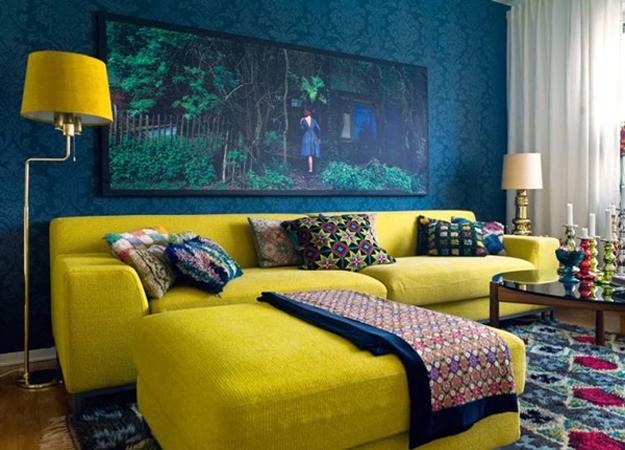 Living Room Design And Decor In Blue Yellow Color Combination