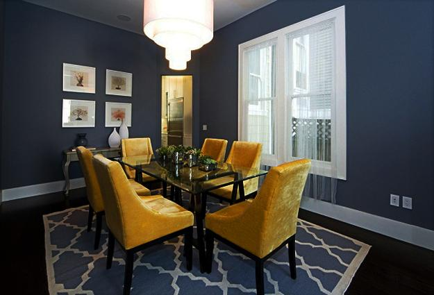 Dining Room Decorating In Rich Golden And Blue Colors