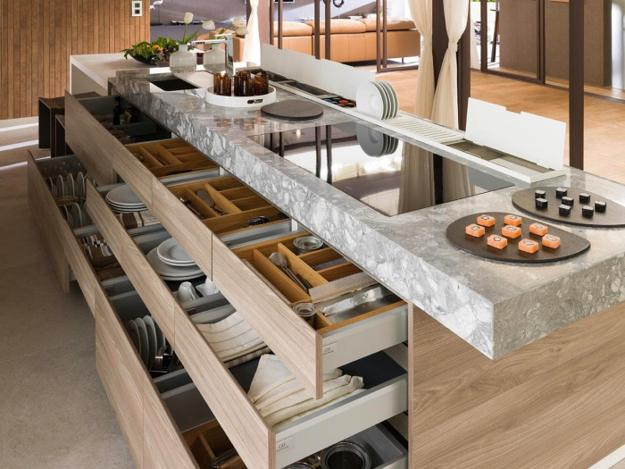 Modern Kitchen Island Design With Customized Drawers