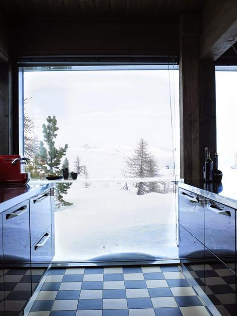 Glass Wall And Retro Modern Interior Decorating Highlight Old Chalet Redesign