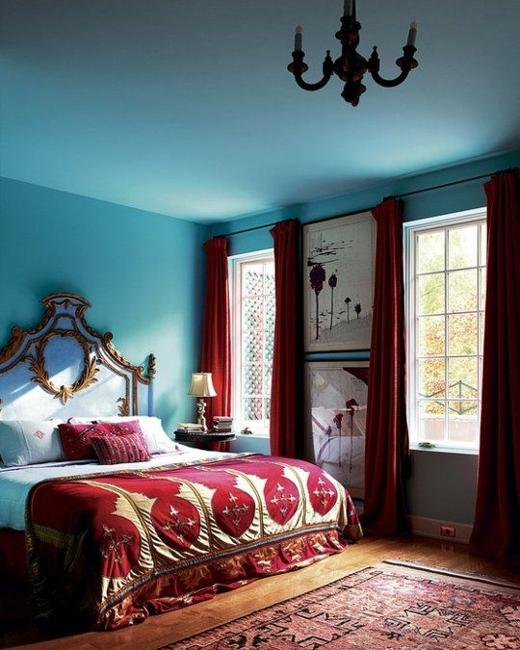 Blue Wall Paint Color And Window Curtains In Dark Red Modern Bedroom Colors