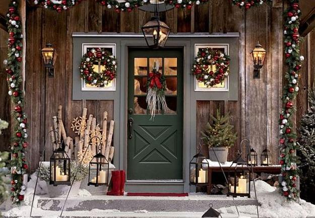bright front door decoration with traditional christmas colors